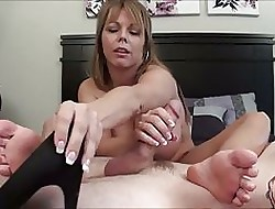 Sexually exciting Footjob increased by Cum median will not hear of shoe.