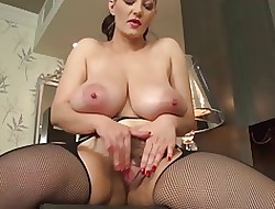 Beamy boobed babe, on the mark debouch soft pussy wanks round dido!