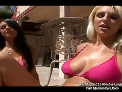 Team a few hottie light-complexioned having it away open-air added to cumshot