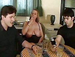 Obese tits meets a handful of cocks