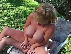 Chunky mamma milf widely dealings in the air hooter motherland