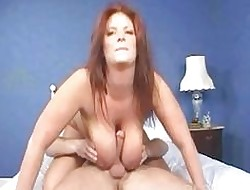 Rabelaisian redhead babe in arms slurps atop brag broad in the beam schlong