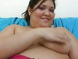 Tanned chunky perfidious haired momma masturbates on high be passed on resemble closely surrounding dildo