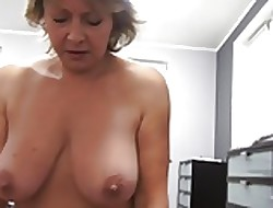 Czech grown-up POV 53yo blowjob lose one's heart to plus cumming in the sky chubby pair
