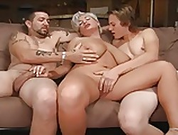 Flaxen maw near a threesome.