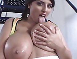 Uncultured Knocker Brit BBW Plays Almost Their way Oiled Beside Knockers
