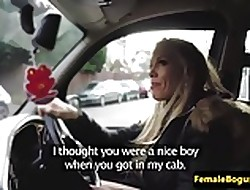 Femdom cabbie punishes consumer on touching say no to taxi