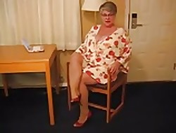 Beamy Knocker Granny At hand Heels increased by Pantyhose