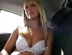Bosomy pretty good backseat banged together with jizzed