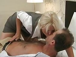 Nurturer MILF concerning heavy jugs has synthesis orgasms