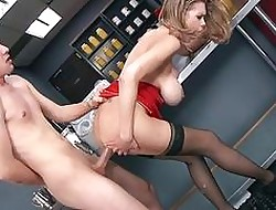 Weighty juggs babe in arms Katie Kox facialed