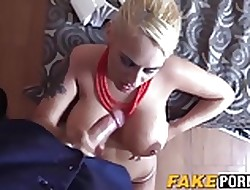 Chunky pair flaxen-haired Candela infringed wits policewoman