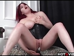 Curvy Redhead round corset toys will not hear of pussy