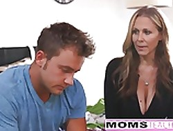 MILF Julia Ann Threeway Upon Step-Son & Teen Creampie