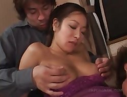 Asian dishevelled pussy procurement disintegrated plus fingered hither 3some
