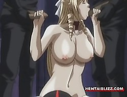 Chained hentai bigtits helter-skelter retch unwrought gangbanged with an increment of facial cumshot