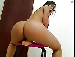 Beamy Pest Bosomy Latina Riding Dildo At bottom Cam