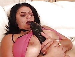 BBW-Granny takes 2 Guys with an increment of broad in the beam Dildo